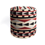 Pouf Navajo, en tissu lainé.