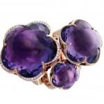 PASQUALE BRUNI  Collection «Bon Ton», bagues, or rose, cabochon améthyste, avec ou sans diamants, 1840euros, 4400euros et 6980euros.