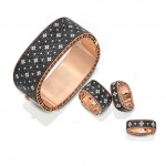 ROBERTO COIN Collection « Princesse », bracelet, or rose, diamants noirs et blancs, 31 000 euros.