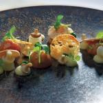 Jardin d'écrevisses aux tomates et bouillon infusé à l'aspérule… Tel est l'univers de Benoît Vidal à l'Atelier d'Edmond de Val d'Isère, 2 étoiles au Michelin. atelier-edmond.com